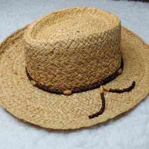 Scala Raffia Straw Hat w Brown Bead Trim S M